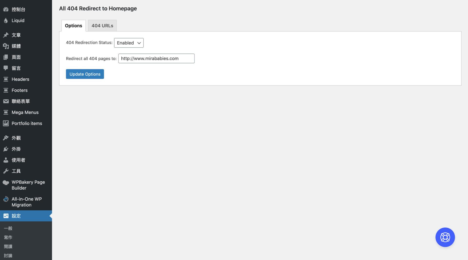 All 404 Redirect to Homepage 外掛設定介面 — 編輯區:Options-IrvingLab 爾文實驗室