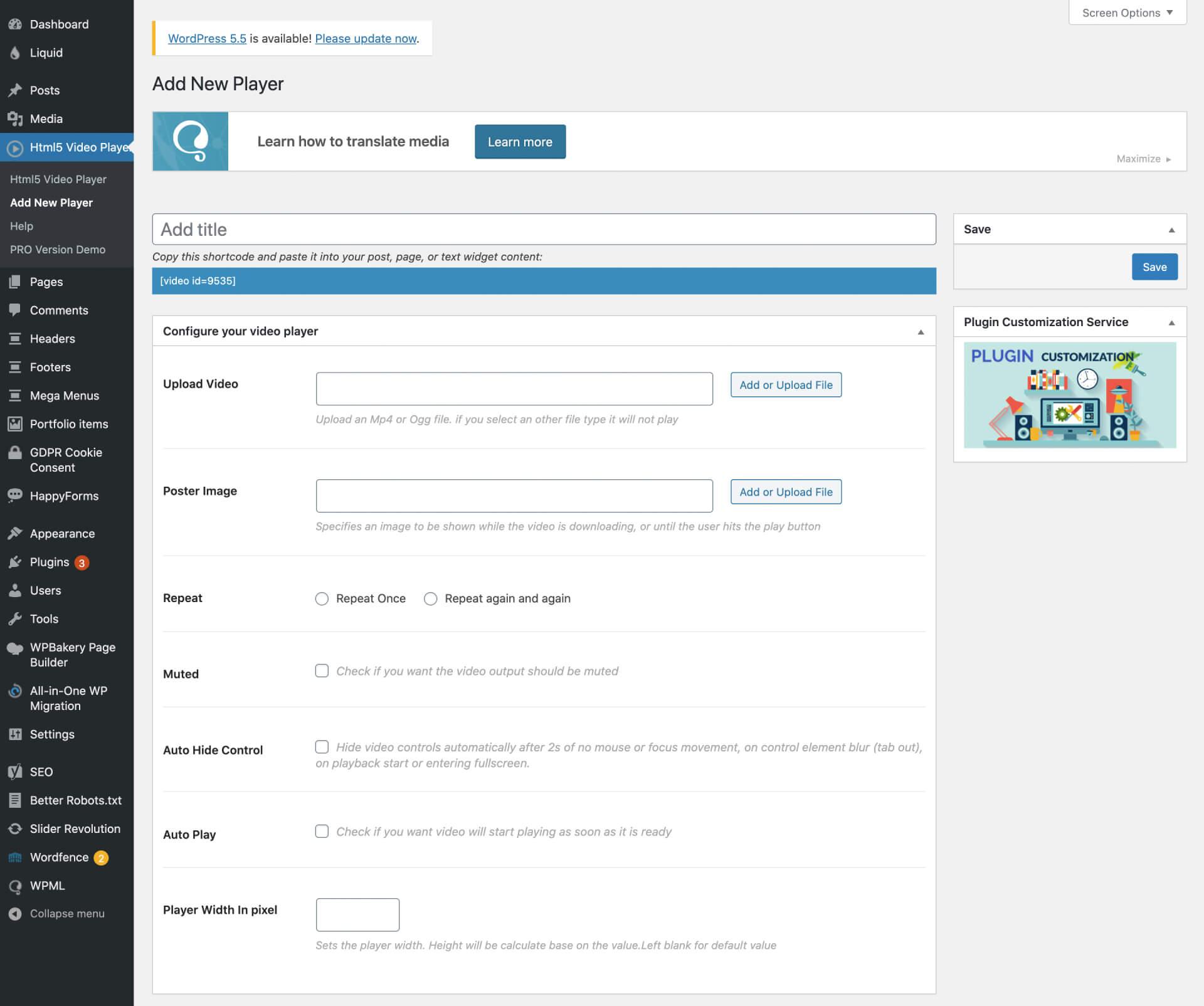Html5 Video Player — mp4 player, Video Player for WordPress 外掛後台介面-IrvingLab 爾文實驗室