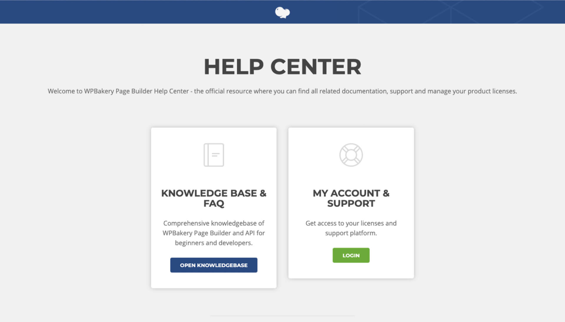 WPBakery Page Builder 官網的 Help Center 頁面