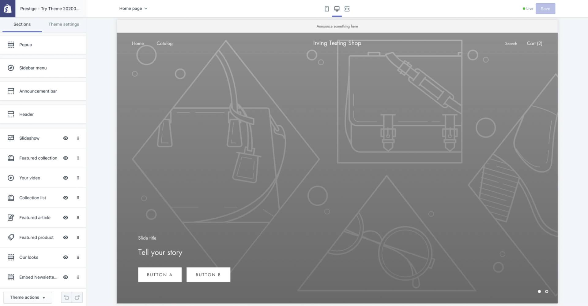 Shopify Theme 的 Customize 模式 — 後台預設的介面設定-IrvingLab 爾文實驗室