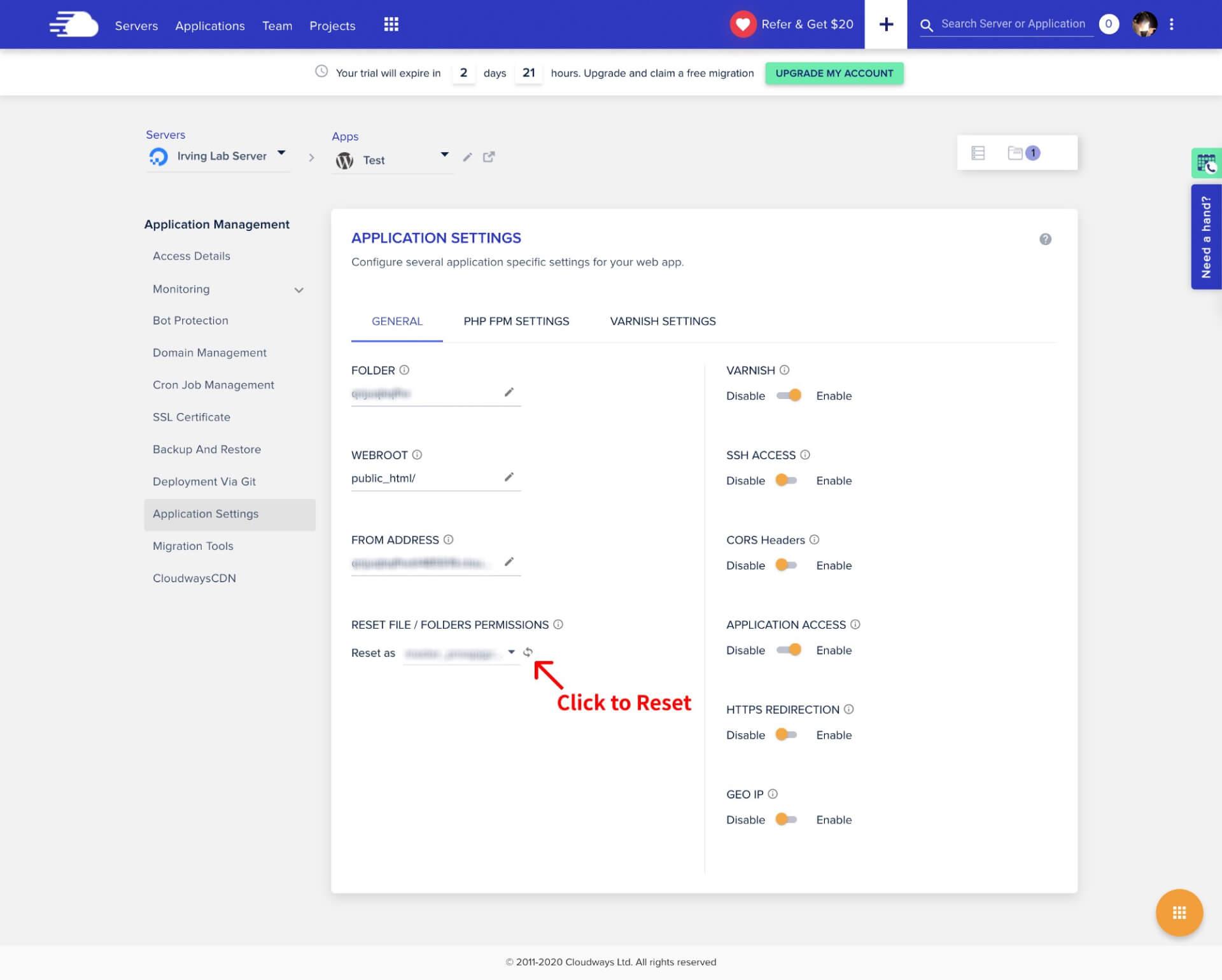 初次建立網站後,Cloudways 要 Reset File and Folder Permissions of an Application 才能進行透過 FileZilla 上傳檔案-IrvingLab 爾文實驗室