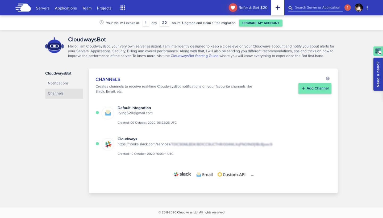 CloudwaysBot 主機虛擬助理通知設定-02-IrvingLab 爾文實驗室